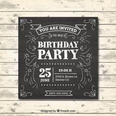 Birthday invitation in chalkboard effect Free Vector