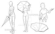 Umbrella Poses 2 by Sellenin on DeviantArt Drawing Body Poses, Body Reference Drawing, Drawing Reference Poses, Drawing Tips, Drawing Base, Manga Drawing, Manga Poses, Sketch Poses, Poses References