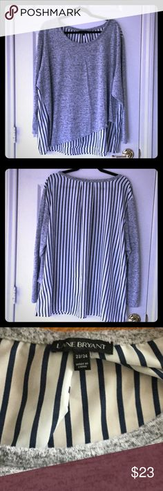 Women's Gray Cardigan Used and in excellent condition, with blue/white stripes on the back Lane Bryant Sweaters Cardigans