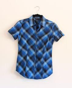 New York & Company Women's Button Up Short Sleeve Blue Shirt Size XS #NewYorkCompany #ButtonDownShirt