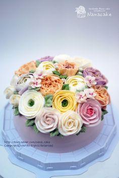 나나레알로즈,작약,라넌큘러스,애플블로썸,꽃봉오리,가든플라워케이크 by.나나 안녕하세요. 달콤한 꽃향기...