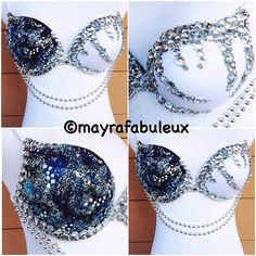 Bling Galaxy Rave Bra Mayrafabuleux Original by mayrafabuleux Bedazzled Bra, Bling Bra, Rhinestone Bra, Decorated Bras, Diy Bra, Rave Makeup, Edm Outfits, Rave Festival, Belly Dance Costumes
