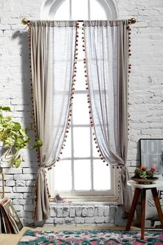 Magical Thinking Pompom Curtain - Urban Outfitters Curtains needed Cortina Boho, Rideaux Design, Window Dressings, Curtains With Blinds, Pom Pom Curtains, Striped Curtains, Curtains For Arched Windows, Neutral Curtains, Purple Curtains