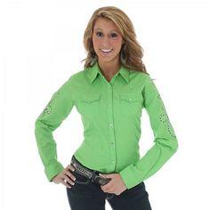 Womens Wrangler Green Long Sleeve Solid Shirt | AA Callisters