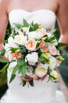 Romantic garden rose bouquet: http://www.stylemepretty.com/2015/03/03/chic-lakeside-wedding-at-vintage-villas/ | Photography: Cory Ryan Photography - www.coryryan.com