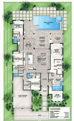 Florida House Plan with Indoor/Outdoor Living - 86023BW | Florida, Southern, Luxury, 1st Floor Master Suite, Butler Walk-in Pantry, Den-Office-Library-Study, Split Bedrooms | Architectural Designs