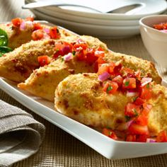 Parmesan crusted bruschetta chicken.  To make this low cal - leave out the mayo and breadcrumbs, and just sprinkle with a little parmesan cheese mixed with Italian seasoning - use fat free zesty Italian dressing in your bruschetta - I also add chopped green peppers.
