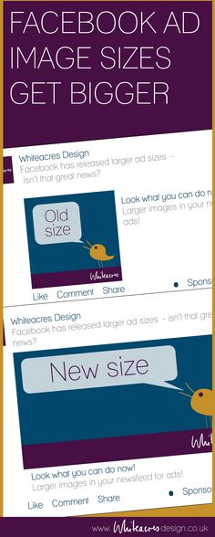 Facebook ad image sizes have got bigger and more consistent. Make the most of the extra space to communicate your brand  http://www.whiteacresdesign.co.uk/facebook-makes-bigger-changes/