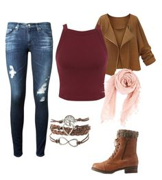 """""""Fall outfit"""" by brenna-mccarty on Polyvore featuring beauty, AG Adriano Goldschmied, Charlotte Russe, Miss Selfridge and Chan Luu"""