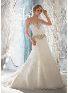 Crystal Beaded on Alencon Lace Wedding Dress