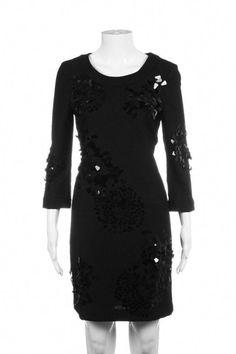 830dc2c1 TORY BURCH Dress Wool Black Sequin Appliqué Size 2 #blackcocktaildress