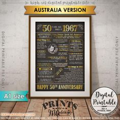 50th Anniversary 1967 Printable Chalkboard Style Poster -- A fun anniversary poster filled with facts, events, and tidbits from AUSTRALIA in 1967. Makes an excellent gift or party decoration! *** DIGITAL PRINTABLE FILE ONLY! No physical prints will be sent *** • INSTANT DOWNLOAD! Simply order, download, print and enjoy! The print comes as seen in the previews – no changes can be made to Instant Download digital files. • A1 size (includes a JPG & PDF) • Click here for more 1967 AUSTRALIA d...