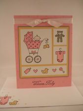"Stampin Up ""Baby Bundle"" Handmade Pink Baby Card"