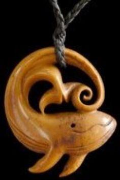 Carved bone pendant from Jackie Tump of Kaikoura, New Zealand