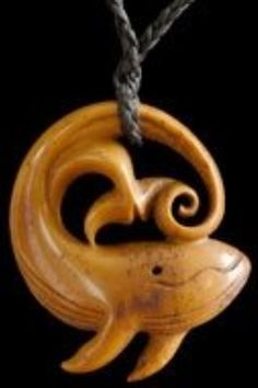 Carved bone pendant from Jackie Tump of Kaikoura, New Zealand
