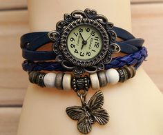 Hand-woven highend suede brecelet watch, leather retro watch,unisex charm bracelet watch DA003. $15.80, via Etsy.