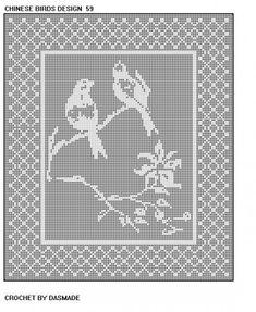 Chinese Birds Filet Crochet doily tablecloth pattern 59
