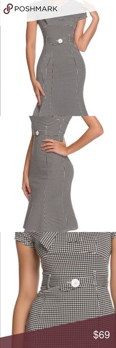 Houndstooth print vintage style dress Houndstooth print vintage styled dress. Polyester and spandex blend. Bow tie at neckline. High waisted cut with trumpet skirt bottom. New without tags retail. Never worn ships within one week. Shop Nicety Dresses