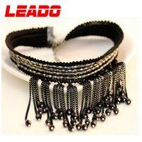 LEADO new 2014 fashion brand bohemian black laces created diamond statement necklaces jewelry for women wedding accessories LJ39