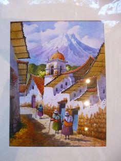 Pintura acuarela Vintage arte popular Andes paisaje Original Made in Peru