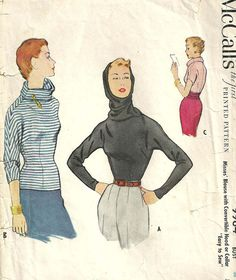 Vintage 50s Sewing Pattern Blouse Shirt Top by studioGpatterns