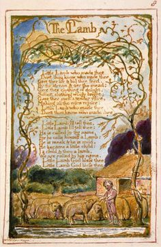"Michael Phillips's reproduction of the poem ""The Lamb"" from William Blake's best known collection of poems, Songs of Innocence and of Experience. William Blake Poems, The Lamb William Blake, Songs Of Innocence, English Poets, Pomes, Collection Of Poems, Design Graphique, Great Artists, Book Art"