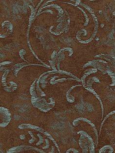 Brown Damask Scroll Wallpaper