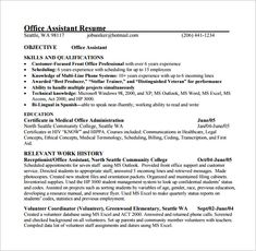 Objective For Office Assistant Resume Medical Template Free Word Excel PDF