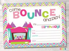 Bounce House Instant Download Birthday Party Invitation Girls Bouncy Castle Kids Printable Birthday Party Invite