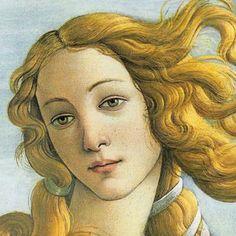 Detalle - BOTICELLI. El nacimiento de Venus 1483-1484 (en italiano: Nascita di Venere), es una pintura de Sandro Botticelli (1445 - 1510). El nacimiento de Venus representa una de las obras cumbres del maestro italiano. Está ejecutada al temple sobre lienzo y mide 278.5 centímetros de ancho por 172.5 cm de alto. Se conserva en la Galería de los Uffizi, Florencia.