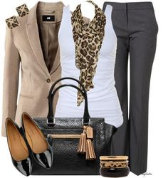 I love the color scheme of this outfit, it is great for work- maybe with a sweater instead of a blazer.