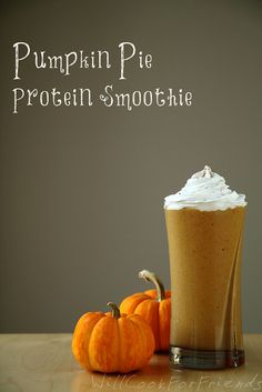 Pumpkin Pie Protein Smoothie1 cup unsweetened pumpkin puree (to make your own, click here) 1 frozen banana 1/2-1 cup unsweetened almond milk, or other dairy-free milk 1 scoop unflavored (or vanilla) protein powder* - optional 2-3 TBSP agave or maple syrup, to taste 1/2 tsp. vanilla extract 1/2 tsp. cinnamon 1/4 tsp. nutmeg 1/8 tsp. ginger Small pinch of cloves Small pinch of salt