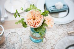 Juliet roses and mason jars #wedding