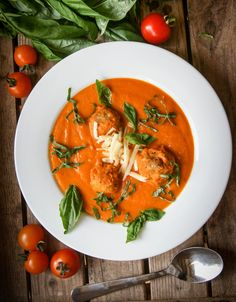 Roasted tomato soup with cheddar dumplings by Monica Shaw