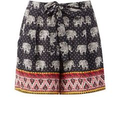 Black Contrast Border Hem Elephant Print Tie Waist Shorts