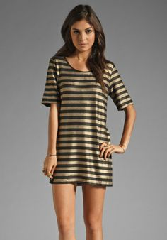 MINKPINK Gold Member Stripe Tee Dress in Multi at Revolve Clothing - Free Shipping!