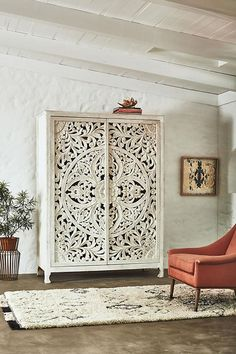 Anthropologie Lombok Armoire 2998 vs World Market White Carved Wood Floral Armoire 1400 white carved armoire look for less copycatchic luxe living for less budget home decor and design daily finds home trends and room redos Asian Home Decor, Diy Home Decor, Home Furniture, Furniture Design, Furniture Stores, Furniture Ideas, Furniture Repair, Furniture Removal, Furniture Movers