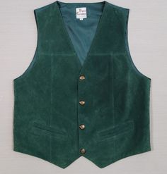 Mens Vintage Leather Waistcoat Size L Dark Green