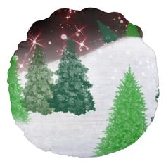 #christmas #zazzle Green christmas trees on a snowy winter hill with red sparkle night sky.