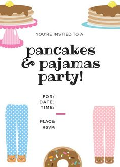 Pajama Party Printables and ideas for sleepovers or Pancakes and Pajama Parties for kids. Breakfast printables and ideas for kids brunch. Pajama Birthday Parties, Birthday Party For Teens, Teen Birthday, Pajama Party, Birthday Party Themes, Birthday Ideas, Happy Birthday, Teen Sleepover, Sleepover Party