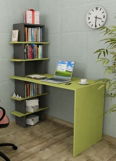 Minar Madelon Calısma Masası - Verde-Antrasit Online Satın Al | Minar Mobilya | Markafoni Smart Furniture, Home Furniture, Furniture Design, Home Office Design, House Design, Study Table Designs, Bookshelf Design, Decorating Your Home, Small Spaces