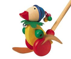 Quack, quack! Pedella is a friendly pushalong duck by Selecta Toys who waddles back and forth and slaps his feet on the ground as he is pushed along....
