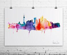 SHANGHAI City Watercolor Painting - Art Print - Wall Art - skyline poster on Etsy, $30.00