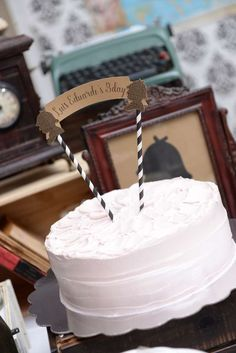 What a great cake at a Sherlock Holmes birthday party! See more party ideas at CatchMyParty.com!