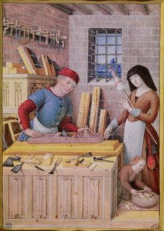 Joseph is working the try plane. At the front another small plane can be seen amongst the woodworking tools. Bibliothèque Nationale de France