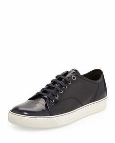 Men\'s Patent Leather Low-Top Sneaker, Navy  by Lanvin at Neiman Marcus.