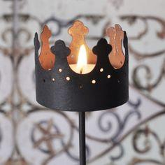 Zinc Crown Candle Holder on a stick. (for tealights)  - Krasilnikoff - Webshop