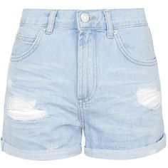 TOPSHOP MOTO Bright Blue Ripped Rosa Shorts (2,335 PHP) ❤ liked on Polyvore featuring shorts, bottoms, pants, light blue, light blue shorts, ripped shorts, topshop, topshop shorts and torn shorts