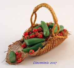 12th Scale Miniature ** Tomato and Cucumber Basket **...IGMA Fellow #Linsminis