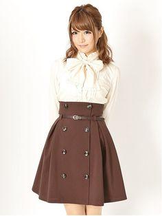 ベルト付きミディー丈トレンチスカート